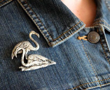 Flamingo pewter pin