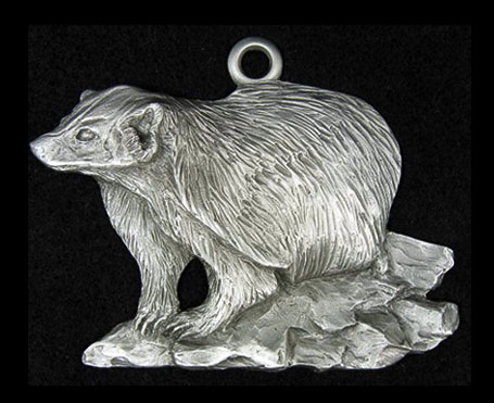 Badger pewter ornament schumann sculpture metal for Badger christmas decoration