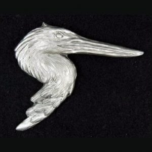 Blue Heron lapel pin hand cast in pewter