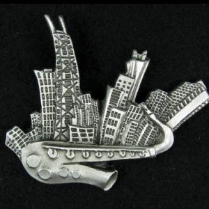 Chicago Sax Pewter Pin