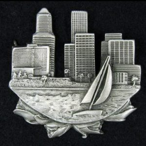 cityscape pewter pin