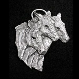 Zebra Trio Pewter Ornament