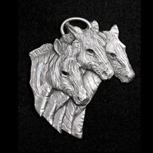 Zebra Trio Pewter Ornament