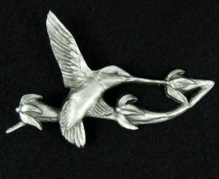 hummingbird pewter pin