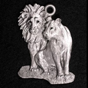 Lion Pair Pewter Ornament