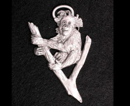 Baby Orangutan Pewter Ornament