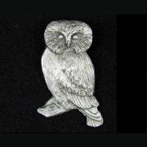 Owl lapel pin in hand-cast pewter