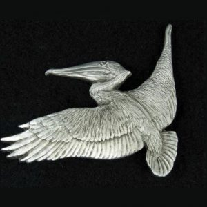 Hand-crafted Pelican pewter lapel pin