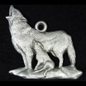 pewter wolf ornament