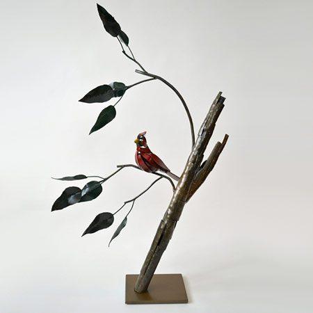 Cardinal steel sculpture