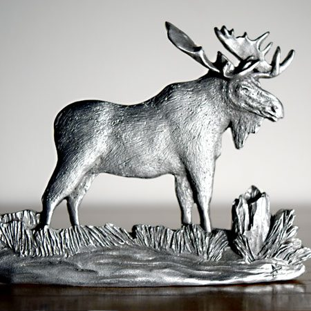 Moose shelf ornament in pewter by Andy Schumann