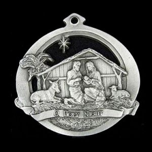 Oh Holy Night Christmas Ornament in pewter