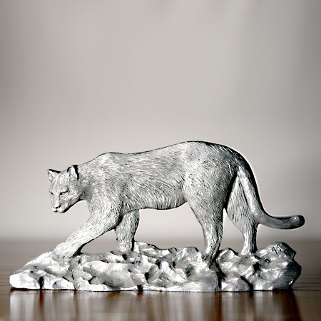 cougar shelf accent in pewter handrafted in WI