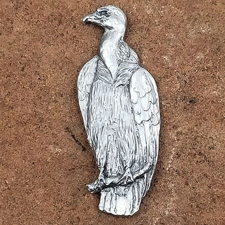 Vulture wearable pin in pewter by Schumann Sculpture